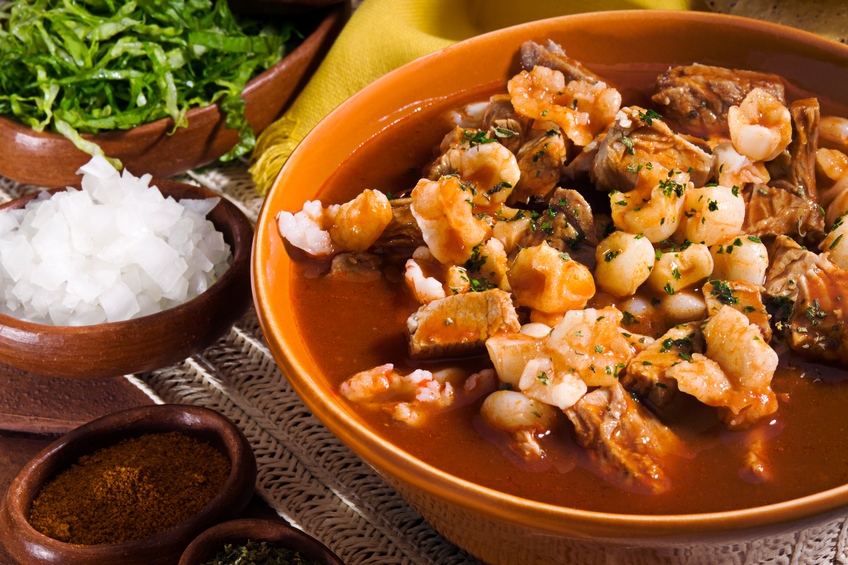 Pork red pozole, a mexican traditional dish.